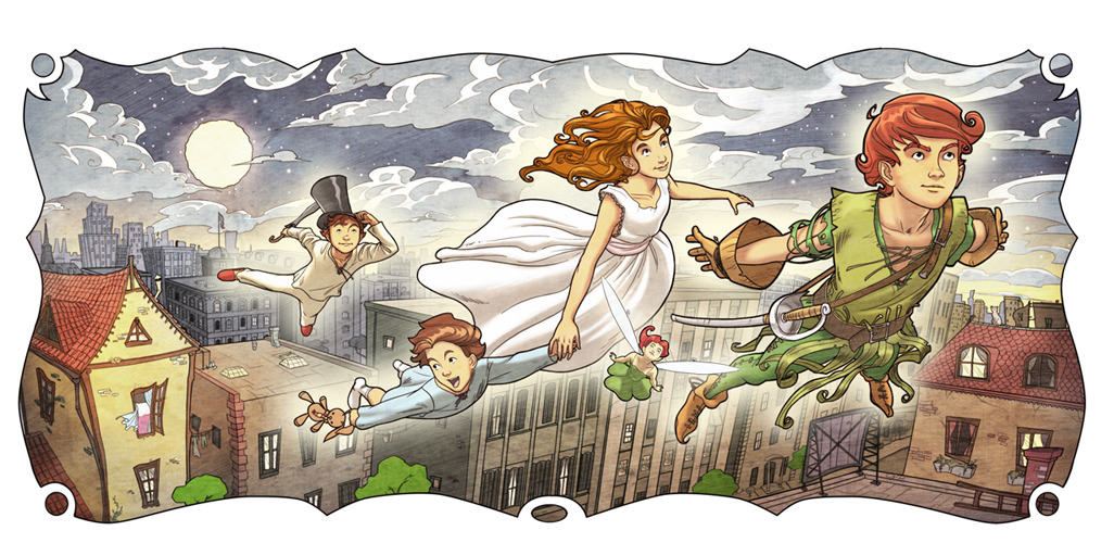 "fairytalemood:  ""Peter Pan and Wendy"" by Sebastian Giacobino"