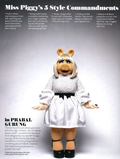 embracing-fat:  pregnant-teen-mom:  cfda-fashionincubator:  Miss Piggy wearing PRABAL GURUNG in the November issue of InStyle! A pig never looked so good!  what the fuck this is so perfect celebrity  muppet endorsements are the only fashion advice I will be taking from now on  Of course i had to re-blog this.