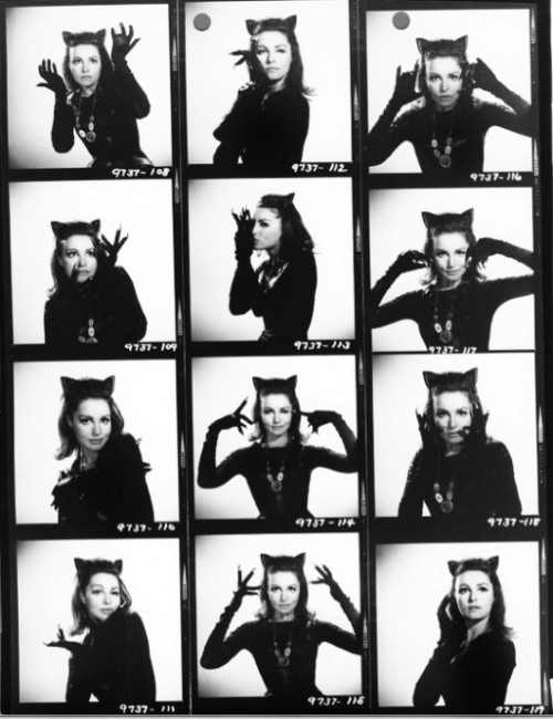 theswingingsixties:  Julie Newmar as Catwoman - contact sheet.