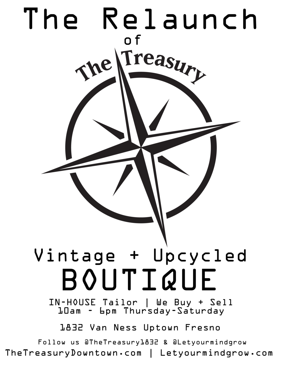 The Relaunch of The Treasury. Vintage & Upcycled Boutique 1832 Van Ness Uptown Fresno