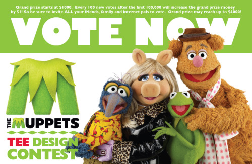 VOTING IS NOW OPEN in our Muppets Design Contest! Please, please spread the word to all your Muppet-loving compadres, and everyone stop by the site to vote up your favorite designs! The more votes cast, the higher the grand prize inches toward a possible cap of $3,000!  There is some seriously Muppet-ational art in the running, so come tell us which is your favorite! Cast your highest rating for your favorite Muppets designs NOW at welovefine.com!