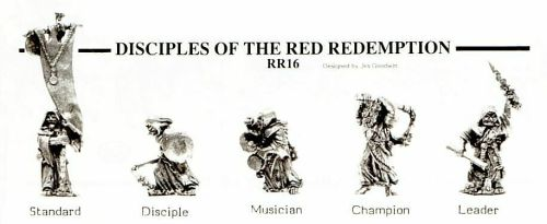 Citadel Miniatures Disciples of the Red Redemption. Jes Goodwin, 1980s. (Red Redemptionists started life in Bryan Ansell's proto-40K Laserburn, migrated to Warhammer in the 2nd edition days and then reappeared as a faction in Necromunda.)
