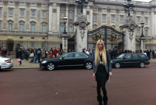 "When 20-year-old androgynous model Andrej Pejic met the Queen of England yesterday afternoon at Buckingham Palace, he chose a Paul Smith blazer, Issey Miyake shirt, vintage Versace pencil skirt, his mother's vintage eighties belt, and Toni Bianco shoes. Pejic tell us his ensemble was inspired by ""Sharon Stone, with a little bit nineties."" He continues: ""I wanted to keep it chic and smart. I mixed a men's blazer with a leather pencil skirt to achieve the look."" And for those wondering if he bowed or curtsied when he met the queen, his rep tells us he bowed. Mystery solved.  Here's What Andrej Pejic Wore to Meet the Queen by nymag.com"
