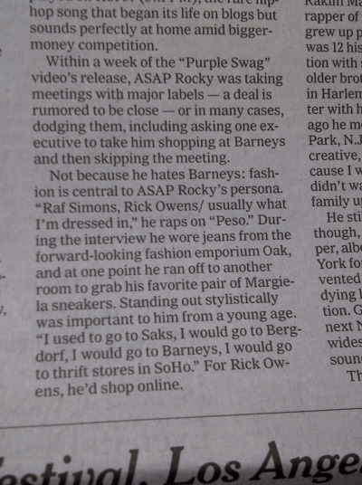 rapping locally and dressing globally…asap rocky in the new york times…