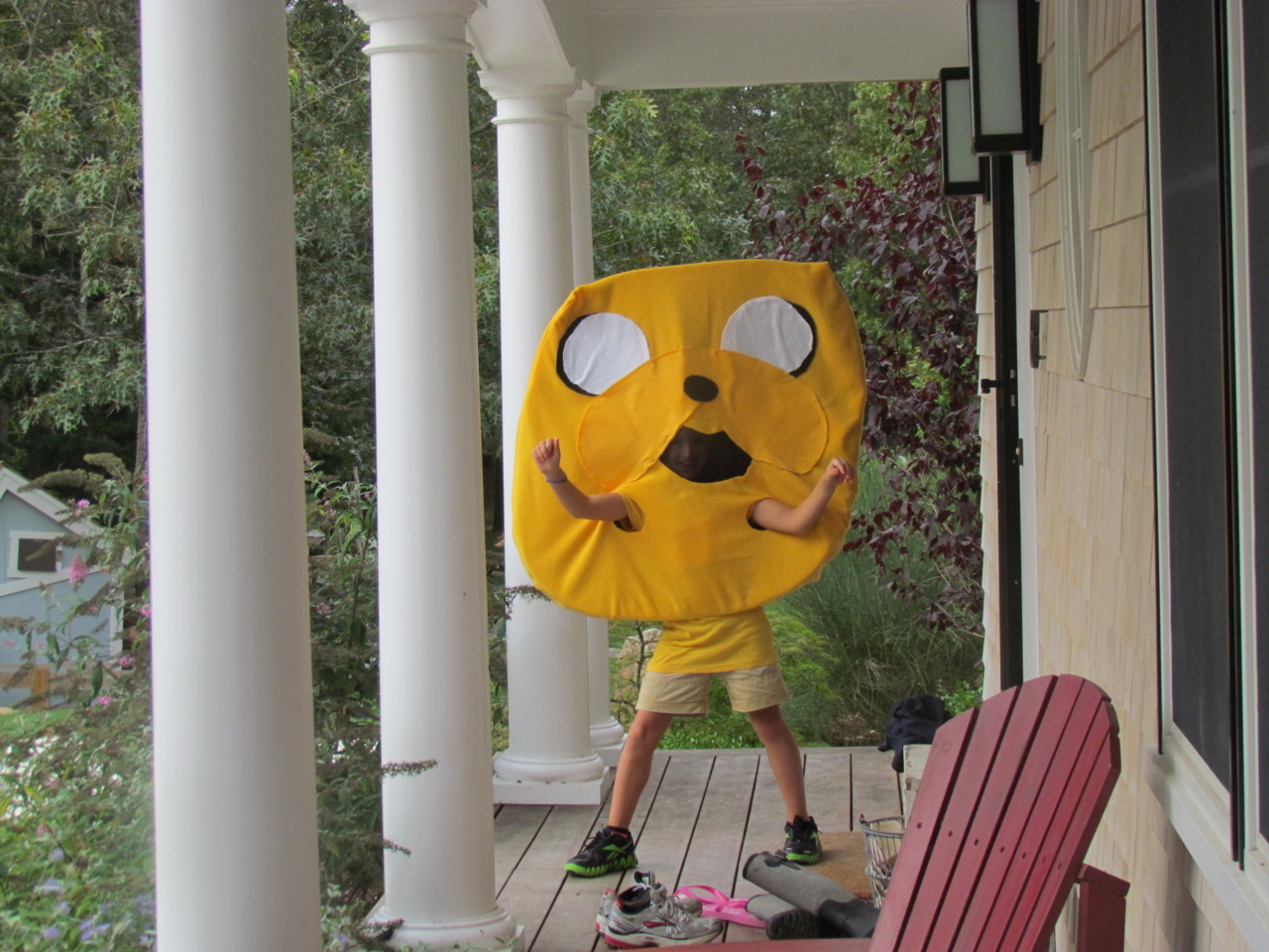 My 9 year olds homemade Jake the Dog Halloween costume! Annie's a BIG fan! submitted by katie
