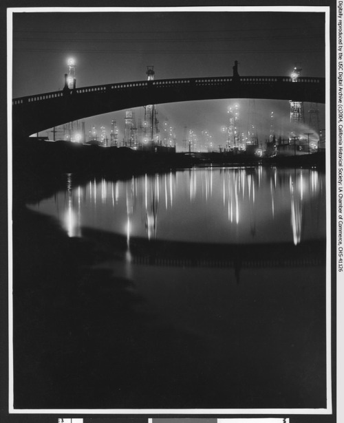 Wilmington Oil Wells at Night, circa 1930.