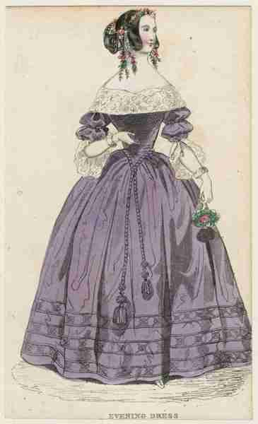 Cabinet des Modes, Evening Dress, February 1840.  I really like this gown!  The rope trim/belt/waistband is quite charming, and her sleeves, too!