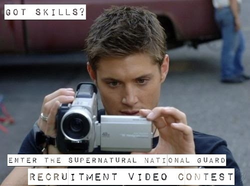 The SPN National Guard Recruitment Video Contest  We need recruits to increase our impact for Supernatural and what better way to showcase what we are about than by using viral video? Create a compelling video that explains our mission or inspires the audience to join the Supernatural National Guard. The winning video will be promoted and used on SPNNG media outlets. You will also win a copy of the DVD or Amazon Instant Video of the Supernatural season of your choice. Go To: the Facebook Contest Page to enter
