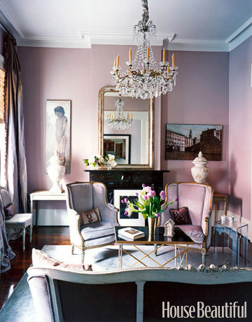 House Beautiful Pink Living Room