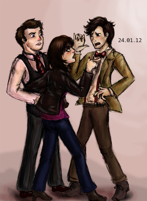Fanart Friday! Drew this for the Torchwood Big Bang Challenge actually. But I'm happy because it's pretty much my first successful TW fanart ever. I don't have a link to the fanfic it was for yet. Whatever! Gwen is poking the Doctor, yaaaaaaay.