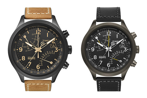 "Timex Intelligent Quartz Flyback Chronograph ""The new Flyback 'Intelligent Quartz' chronograph is surely one of Timex's finest creations to date. The racing-inspired piece is part of the new Intelligent Quartz collection and includes four independently powered hands, while pairing the brand's more technological design methods and standard features seen in most of their pieces. The black face and contrasting light brown accents make this watch a sleek addition to any wardrobe. The watch comes in at an affordable price of only $150 USD."""