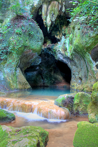 Entrance to Actun Tunichil Muknal cave in Belize. (by Christophe A. Frochaux)