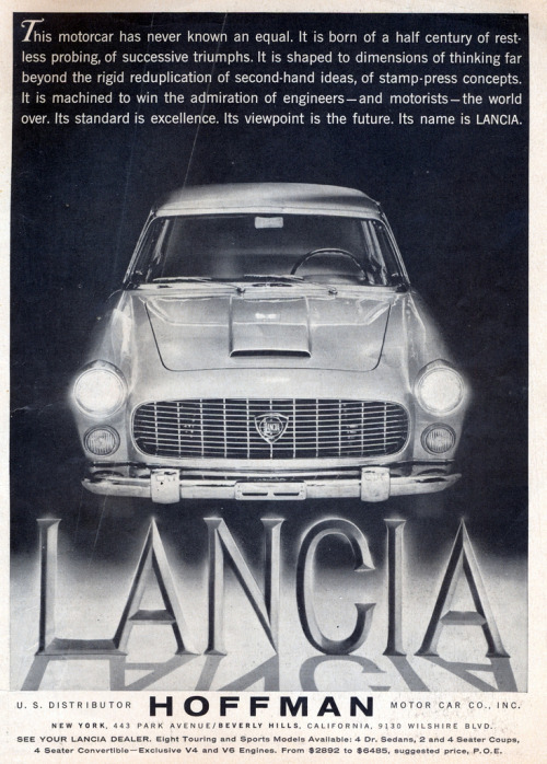 Simplicity and supremacy. 1959 Lancia Flaminia, by way of Hoffman Motors, via coconv. -R.