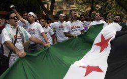 مظاهرة مناهضة للأسد بالقاهرة  Anti- #Assad demonstration in front of the #Syrian embassy in #Cairo, Egypt, Saturday, Oct. 15, 2011. (AP )