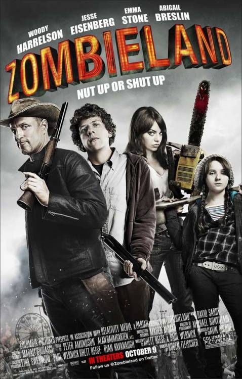 #33 - Zombieland Everyone loves zombies. I don't think I could be friends with someone who doesn't love zombies (I say this, and yet I haven't watched The Walking Dead yet). I thought this film would just be riding the zombie-love-wave, but really it's brilliant! First of all, it would be hard to NOT be amazing with the cast: Woody Harrelson, Jesse Eisenberg (I've come to love his nerd-shtick), Emma Stone (who I LOVE), and Abigail Breslin. The story is a comical how-to survive a zombie apocalypse. And really, this film has the BEST. CAMEO. of all time! The ending scenes at an amusement park is perfectly Scooby Dooesque (but not as campy). I don't know HOW this movie manages to be funny and not campy. Maybe it acknowledges the camp?