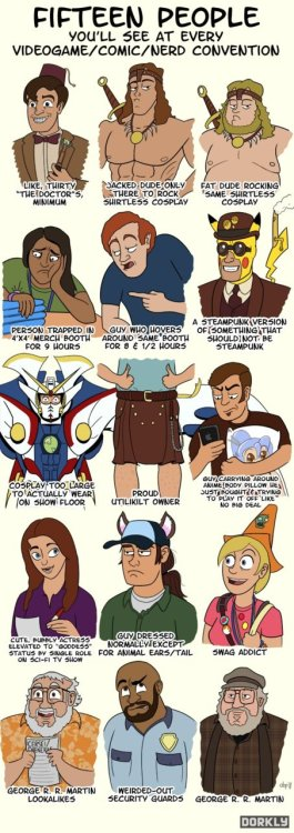 Dorkly list of stock personalities/costumes at cons.  If one were to  include Halloween on the list, I am definitely guilty of contributing to  this.