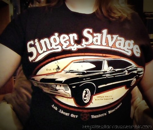 stellar-raven:Lookie what I got in the mail today! This is me wearing my Singer Salvage t-shirt that I bought from RIPT Apparel.
