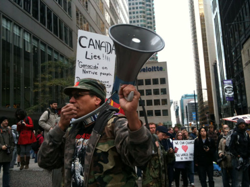 A member of Canada's First Nations at Occupy Toronto