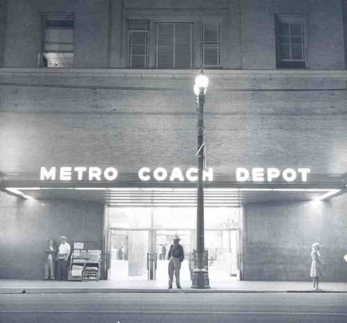 Last Night 2 Entrance-6th & Main Depot on Flickr.La Noir - Metro Depot.  1963.