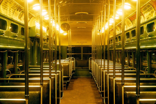 Interior (To Rear) 3127 on Flickr.PCC Streetcar interior, night shot. 1963. Los Angeles.