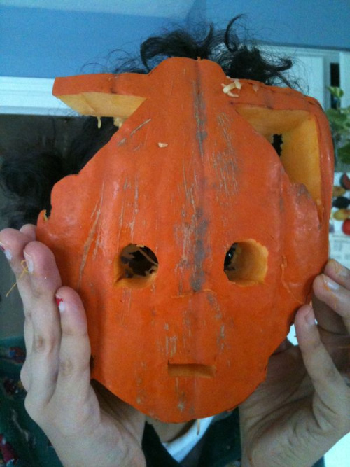 buttonmaster:  My broken cybermen pumpkin carving. Yeahhh, that would be my crazy hair popping out of the top….