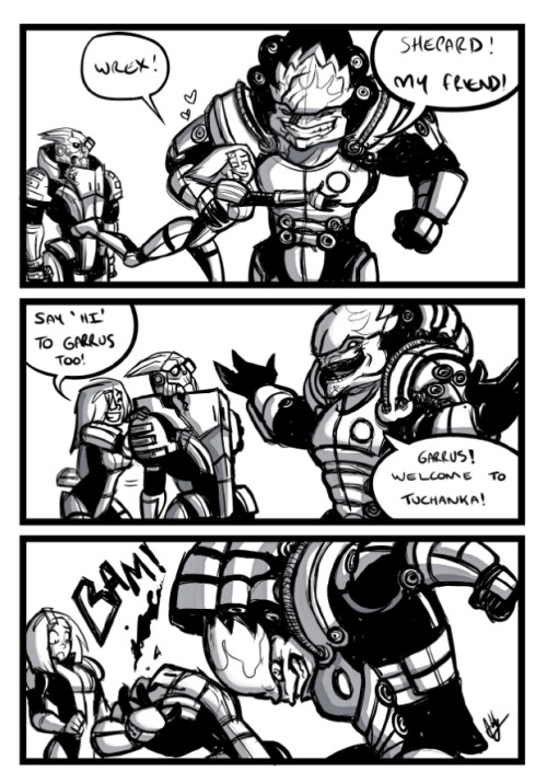 fygarrusvakarian:  Warm Tuchanka Greeting by Abigail Ryder  Wrex wrecks the rest.