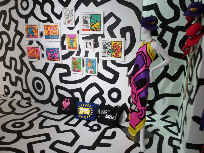 Yesterday I visited Pace Prints' brand new show of Keith Haring prints (through December 3)—some of which are very surprising—which includes this pop-up Pop Shop full of Haring gear. Not pictured: Keith Haring stilettos.