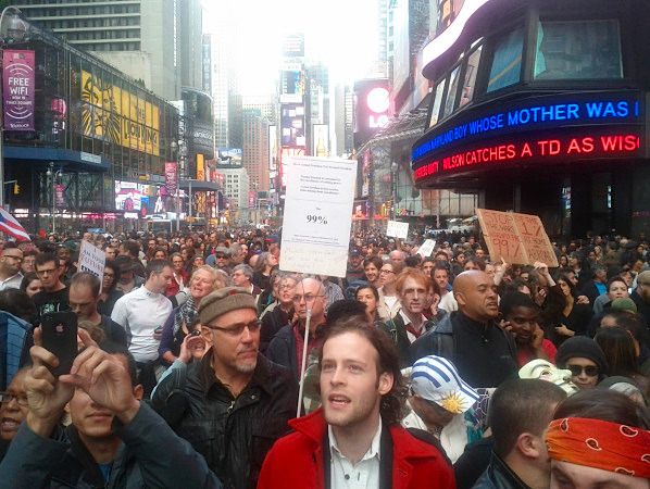 Occupy Wall Street has reached Times Square.
