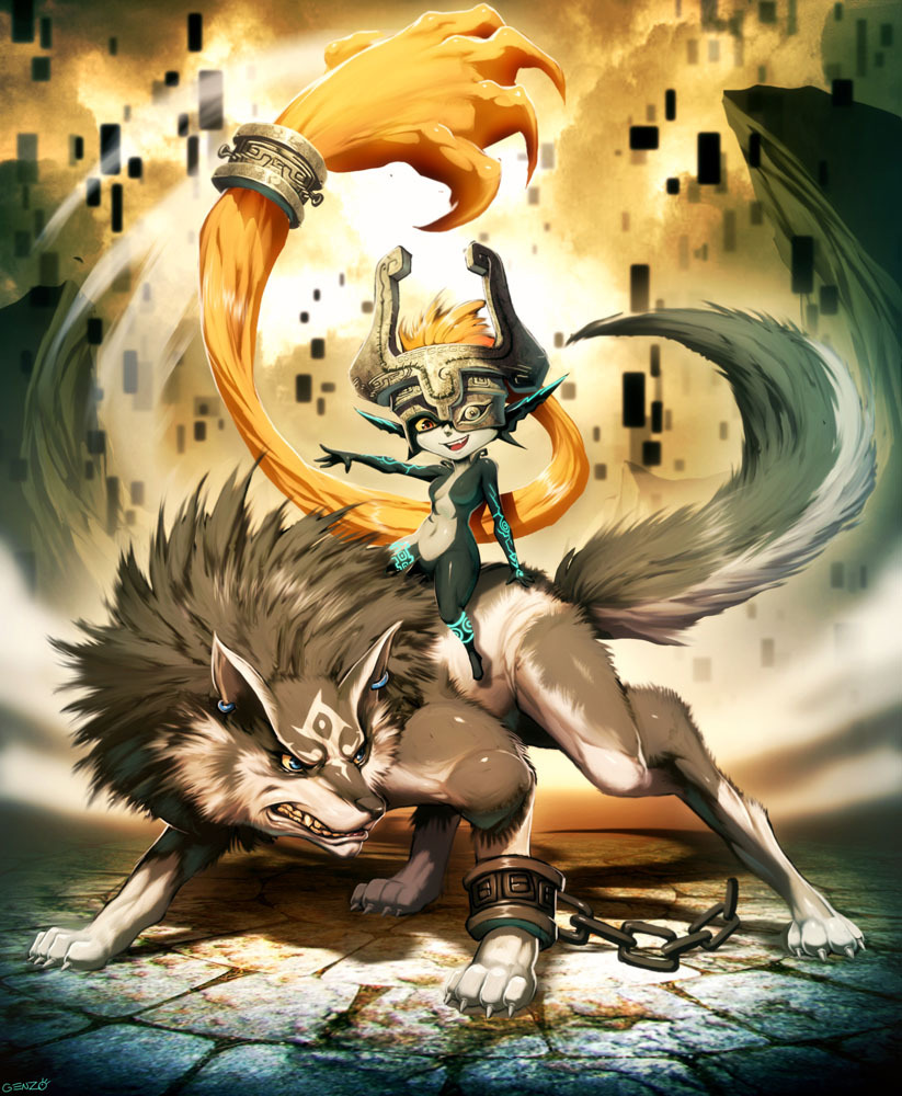 Midna and Wolf Link | by Genzoman