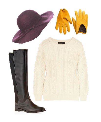 winteressentials/rosement boots (lacoste)/hat (newlook)/gloves (tourmaline)/cable knit jumper (isabel marant)