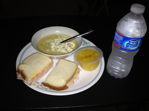 Today's lunch: turkey sandwich with chicken noodle soup and a pineapple cup :)