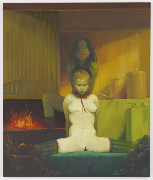 Lisa Yuskavage, Fireplace, 2010, Oil on linen, 77 1/4 x 65 inches (196.2 x 165.1 cm) Exhibition at David Zwirner, September 27 - November 5, 2011