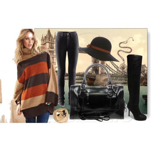 Get the Look! by ischele featuring oversized sweatersVictoria s Secret oversized sweater, $64H&M high rise skinny jeans, £35Report thigh boots, $100Fiorelli leather shoulder bag, $131Vince Camuto pyramid ring, $48R J Graziano gold necklace, $45Miss Selfridge floppy hat, £25