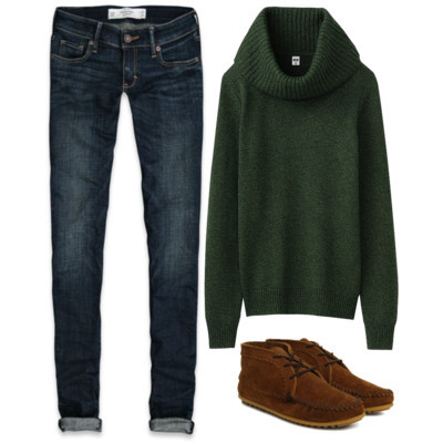 Untitled #38 by theycallmelem featuring a merino sweaterUniqlo merino sweater£50 - uniqlo.comAbercrombie & Fitch cuffed jeans$78 - abercrombie.comMinnetonka shoes70 CAD - gravitypope.com