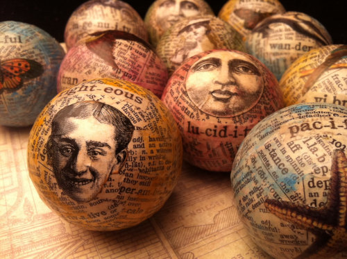 Artist Collage Ornament On Salvaged Billiard Balls