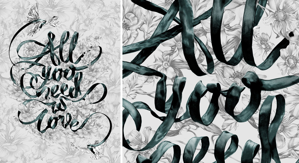All You Need is Love Ribbon type by SEAN FREEMAN as part of a collaborative piece with the lovely POMME CHAN for Bangkok's Design Festival. http://www.thereis.co.uk