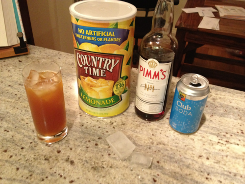 Pimm's Cup the easy way: 3oz. Pimm's, 1 Tbsp Country Time Lemonade in a Collins glass with ice. Top with 3-5oz. club soda. Works at home or on a camping trip.