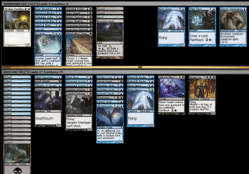 Innistrad Draft (Swiss), 16/10/2011 I made a couple of mispicks in this draft, but not a whole lot, I think. Blue was pretty open from the beginning, with a reasonable amount of black and white coming around, but black just had the better cards. I first picked Cackling Counterpart over Murder of Crows, which has to be wrong, but I wanted to try out the rare (edit: actually now that I realise it has flashback, there's no way Murder of Crows is better than that). I wasn't sure how many things like Moon Heron (which don't play into the themes of the deck, but are solid cards) versus things like Think Twice (which are pretty good if they get milled, but don't have a whole heap of impact) I should play, and I think I might have erred too much on the side of synergy. Maybe having solid creatures like Moon Heron or Markov Patrician is just better? You will notice that the manabase for this deck does not include any plains despite the fact that the mana requirements aren't that onerous (aside from Reaper), and Unburial Rites is great when you can flash it back. That is because I am a moron and forgot to add plains when I was adding land. I switched two plains for two islands after the first game of every match. Match one was against a pretty aggressive red/green deck. In game one he hit me down to 1 life, but then I played my demon and a bunch of zombie dudes and stabilised. Game two I F6ed through my first turn because I'm a moron, and then lost. Game three I played my demon which he killed, and I then got it back with Unburial Rites, and then played Cackling Counterpart on it, with a plains in play to Unburial Rites it a third time if he killed it again. I won that game. Match two was against blue/green werewolves and zombies. I got pretty badly manascrewed both games (in game one I was on three land while he was on 7-8), and in game two I finally managed to get out the Reaper (with the help of two Deranged Assistants), but he played two Grasp of Phantoms (sorcery that puts a creature on the top of its owner library) on successive turns, and then played that red Devil that gets back sorceries at random, and replayed his Grasp of Phantoms, and then the newt turn got to eight mana which let him flashback Grasp of Phantoms. It is very hard to win when you get time walked four times, and so I didn't. Match three was against red/white humans. Game one my deck did exactly what is was supposed to do. I had Deranged Assistant, Armored Skaab and Forbidden Alchemy to get a bunch of stuff in my graveyard, zombies to cast and to exile from my graveyard, and a bunch of flashback cards to get value. I also had a Reaper of the Abyss and Cackling Counterpart to copy it. He Fiend Huntered my Reaper, but it didn't really matter. I won before I was able to flash back Cackling Counterpart in order to have three demons on the battlefield :( Game two I mulliganned to six and then got stuck on three land. I played Armored Skaab and milled four land, which made me very sad. I ended up having to Forbidden Alchemy for a land. I eventually drew another couple of land, but all his stuff got bigger when I killed something (like Thanben Sentry and whathaveyou), which prevented me from stabilising. Game three I had a turn one Delver into turn two Vampire Interloper. The Delver flipped on turn four or so, so I was beating down pretty hard. He eventually got Markov Vampire and Silver Inlaid Dagger, so was able to gain a bunch of life. I killed his vampire… somehow, and then he ended up with a 5/5 Juggernaut and a 5/2 equipped human that dies and gives +1/+1 counters. I was on five, but luckily had a Markov Patrician to chump with, leaving me at three. I swung in for the win the next turn.  I feel like this was a really good deck, but I played a lot of pretty aggressive decks, and found myself winning at pretty low life a lot of the time. I'm not sure if I built this wrong, if the quality of archetypes are really close in Innistrad, or just if everyone in the draft opened very well. I think maybe the fact that I picked up a lot of synergistic cards led me to play too many do-nothing cards like Think Twice, whereas if there had have been less graveyard-centric cards, I maybe would have been happy with playing more solid creatures.