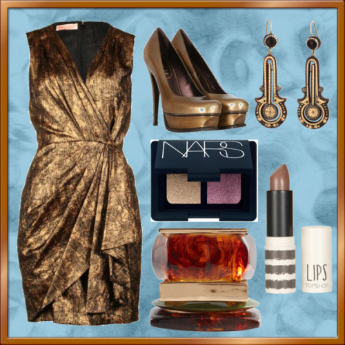 Babylon 5 Styles: Kosh Naranek by victoriasully featuring a v neck wrap dressMatthew Williamson v neck wrap dress, £390Yves Saint Laurent heel pumps, €600Gold jewelryASOS bangles jewelry, $44NARS Duo Eyeshadow Sugarland One Size, $33Lips In Muted, $16
