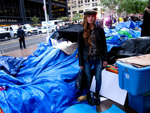Nettie Harris checking out the tent city at Occupy Wall Street last night at Zuccotti Park in New York.  Photo by Brad Elterman