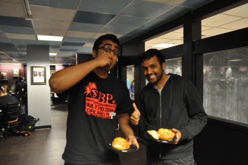 10/12/2011 - Some hungry Sigma Beta Rhos enjoy their bagels