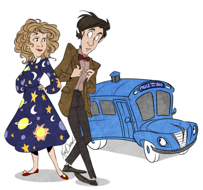 River Song makes me think of Miss Frizzle from The Magic School Bus So I did a little cross over- including the Doctor of course. GET ON THE MAGIC TAR-DIS!