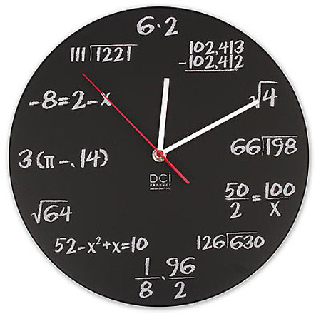 tornadoquest:  silent-musings:  As a Mathematician, I want this clock. If someone knows where I can purchase it, please message me. ;-)  I'd buy one of these in a heart beat!  This and several other wonderful mathish clocks can be found at your local Amazon. OP: http://www.amazon.com/MATH-Clock-NOVELTY-Mathematical-Equation/dp/B001FVRUFQ  http://www.amazon.com/Math-Clock/dp/B004B7RMTK/  http://www.amazon.com/Science-Novelty-Formulas-Equations-Classroom/dp/B004R7HULE/  http://www.amazon.com/CIRCLE-RADIAN-Clock-trigonometry-teacher/dp/B002IESRTW  http://www.amazon.com/Clock-teacher-professor-classroom-radians/dp/B003MASYPS  http://www.amazon.com/PRIMES-Wall-clock-numbers-teacher/dp/B003ZZWHMG  http://www.amazon.com/SQUARE-ROOT-Clock-teacher-calculator/dp/B002VL87VK/ For anyone who knows me, Yule is coming, hint hint. ;)