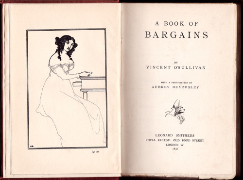 "Vincent James O'Sullivan (1868-1940) was an American-born writer of macabre stories and Decadent poetry. Oscar Wilde, after having read O'Sullivan's poems, commented: ""In what a midnight his soul seems to walk! and what maladies he draws from the moon!"", and such a remark aptly characterizes most of O'Sullivan's oeuvre.  It was in Montague Summers' The Supernatural Omnibus (1931) that I first noticed O'Sullivan's artistry. His stories—even in a collection that includes such figures as J. Sheridan Le Fanu, Bram Stoker, Vernon Lee, and, one of Crowley's cronies, William Seabrook—immediately stood out for their delivery, if not their content. O'Sullivan's prose is vivid, flowing, and capable of deathly sudden twists. His most widely anthologized story, ""When I Was Dead"", was described by Robert Aickman as a ""spasm of guilt"", ""sudden and shattering""; Aickman included it in The Fourth Fontana Book of Great Ghost Stories (1967), a long-running series he edited. However, that story is quite mild in comparison to some of O'Sullivan's others. A few of my favourites are ""Hugo Raven's Hand"", ""My Enemy and Myself"", ""The Bars of the Pit"", and the novella-length ""Verschoyle's House"".  For more about Vincent O'Sullivan, see: Jessica Amanda Salmonson's essay, ""A Fallen Master of the Macabre""; it is from the introduction to Master of Fallen Years: The Complete Supernatural Stories of Vincent O'Sullivan (London: The Ghost Story Press, 1995). (Note: the book is very hard to come by, only 400 were printed, has a creepy cover, and it contains his rarest story, ""The Monkey & Basil Holderness"", which I am desperate to read.) ""Vincent O'Sullivan: Unstrung Second Fiddle"", an essay that compares him to other Decadent poets, and discusses in detail his story collection A Dissertation Upon Second Fiddles, which is said to read like an English Léon Bloy. Archive.org has the story collection Human Affairs, and the Decadent ""prosetry"" of The Green Window. Unfortunately, their scan of Sentiment, his second of two novels, is the edition without the stories, and they don't have his first novel, my favourite, The Good Girl. (I hope to add some of his other works to Archive.org.) Horror Masters is a good resource for stories of the supernatural, of Vincent's, it has: ""Will"", ""The Business of Madame Jahn"", ""The Interval"", ""Master of Fallen Years"", ""When I Was Dead"", and ""The Burned House"".  (Image: the frontispiece was done by the talented Aubrey Beardsley; the drawing does not look to be his most inspired work (see Stanley Weintraub's Beardsley for why =]), but do take a look at this collection.)"
