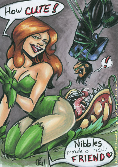 [Image: Poison Ivy crouches in the foreground, while Nightwing is tied up by vines and dangles above one of her carnivorous pets in the background. Dialogue is handwritten in speech balloons as follows: Ivy: How CUTE! Nightwing: ! Ivy: Nibbles made a new FRIEND <3] As spawned by a suggestion from myprettyissuper! 5x7 inches, ink & marker. Got a request, suggestion or question? Put it in my ask box!