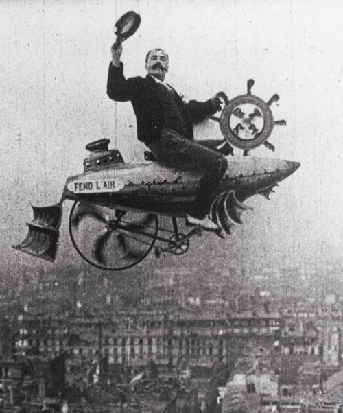 Conquering the Skies (1906, dir. Ferdinand Zecca), in which the image of Zecca astride a vehicle he invented was superimposed on a view of Paris.  (via)