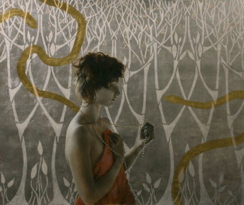 Brad Kunkle Girl With Serpents And Pearls Oil and gold and silver on linen 2010 25 x 30 inches
