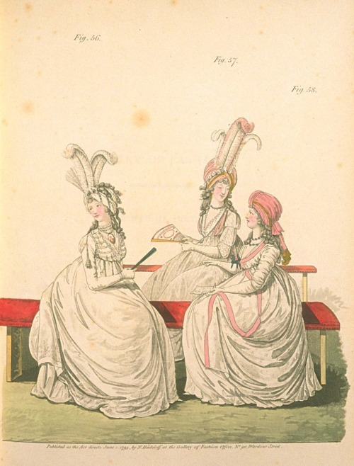 Gallery of Fashion, July 1795.  Such epic ostrich feathers…