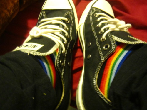 My rainbow socks look pretty awesome with my new converses.