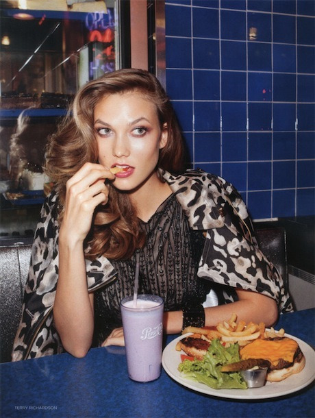 Anyone for a burger?  Karlie Kloss, Vogue Uk, November 2011
